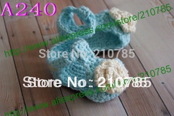 Crochet Baby Sandals, Baby girl Knitting Light blue / white flowers Sandals, Crochet Baby bootee 200pairs Free Shipping #Affiliate