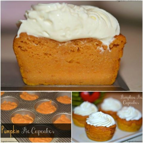 Pumpkin Pie Cupcakes With Cream Cheese Whipped Cream - Hugs and Cookies XOXO