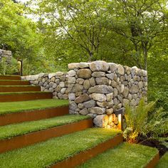 Love these grass stairs and lighting The rocks could be used as a little under ground hideout!