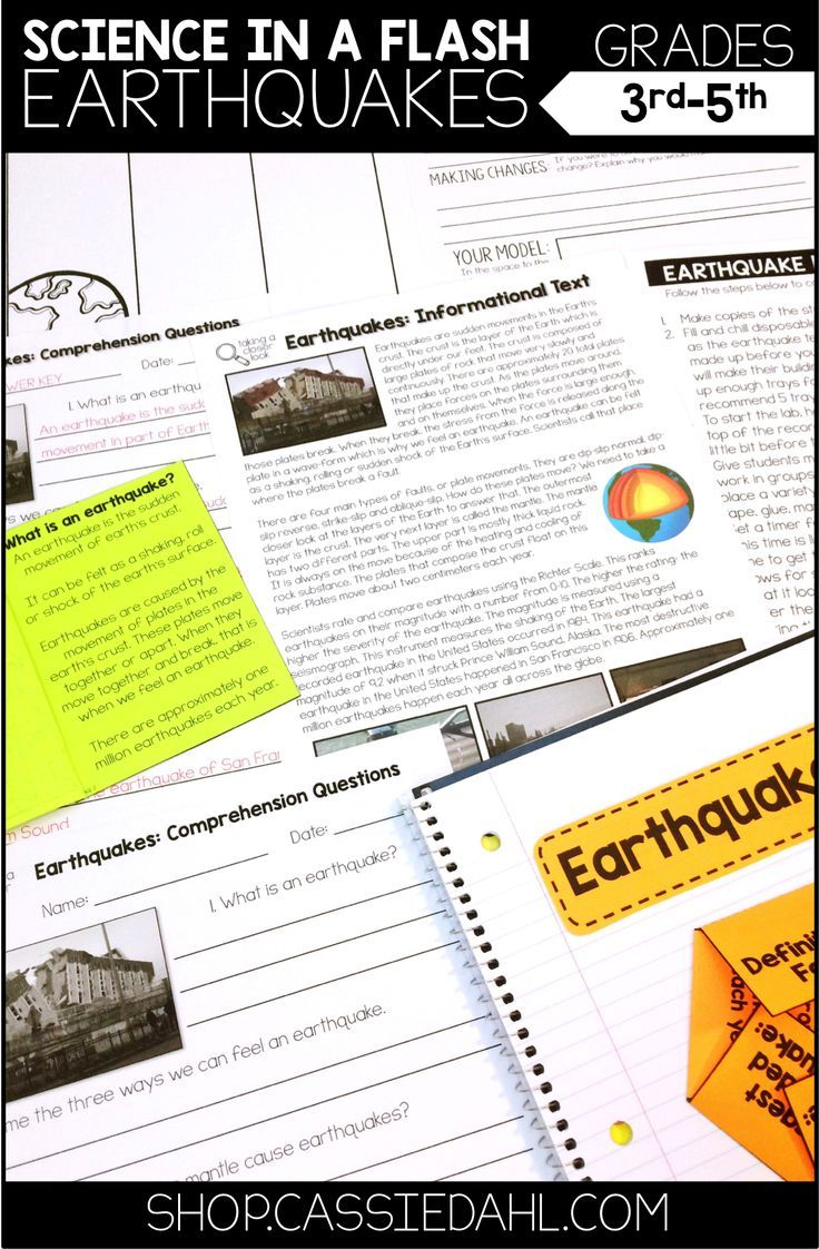 Teach all about Earthquakes with this easy to use Science in a Flash pack! It includes an informational text, graphic organizer, interactive notebook page, earthquake lab and more!