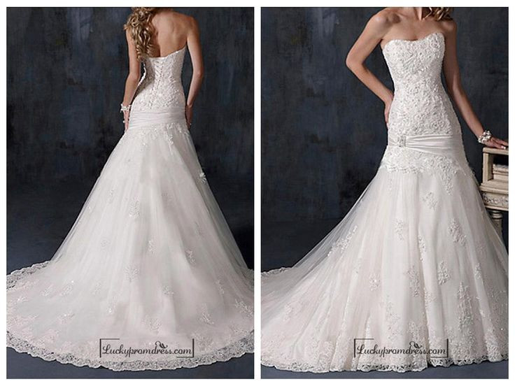 BEAUTIFUL SATIN STRAPLESS WEDDING DRESS
