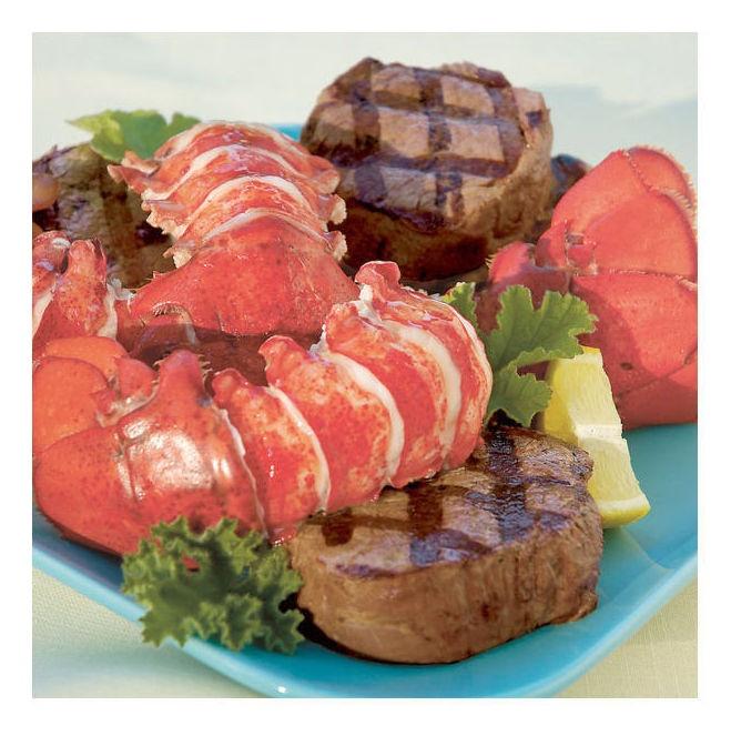 Lobster Gram M12FM2 Two 12-14 Oz Giant Canadian Lobster Tails & Filet Mignon Steaks