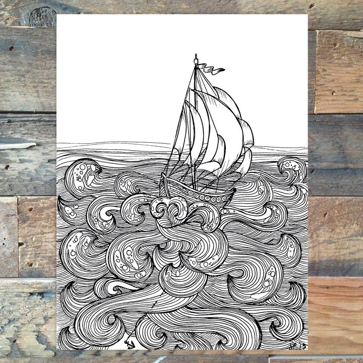 """8.5"""" x 11"""" Print of Hand drawn illustration  Anchor of Hope  Other sizes available on request."""