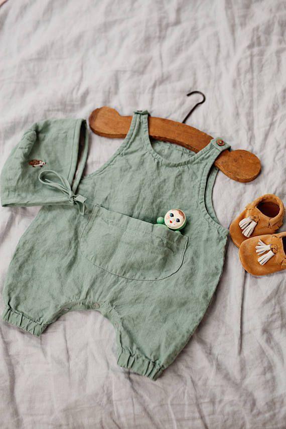 Linen Jumpsuit Peppermint Green Baby Overalls Romper #linenlove #babyromper #bab…