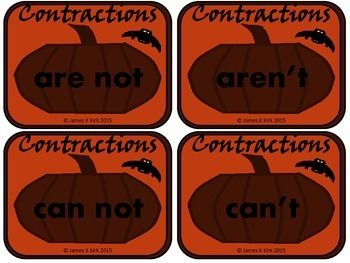 Halloween Contraction Cards (NEW) - Three styles - Version 1 (3-6)  A great resource for any classroom or home.   128 Unique Halloween contraction cards x 3 color / colour styles - 33 Pages per style.  - 99 Pages in total - Templates to write additional words - We also have another Halloween version with three different color / colour styles of the same cards. - Print off each of the three sets and also mix them for variety. - A great resource for any literacy stations