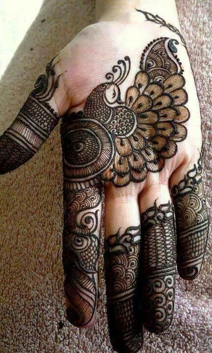 gorgeous mehendi design for the hands, lovely peacock henna, temporary tattoo, Indian tradition