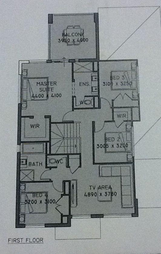 Upstairs floor plan with master bedroom and balcony at rear - Plantation Homes Trinity