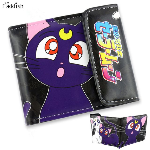 Caprichoso Marca Japonés de la Nueva Llegada Carpeta de la Historieta de Tokio Ghoul/Sailor Moon/Purple Cat Monedero Tres Veces Billeteras Dólar precio
