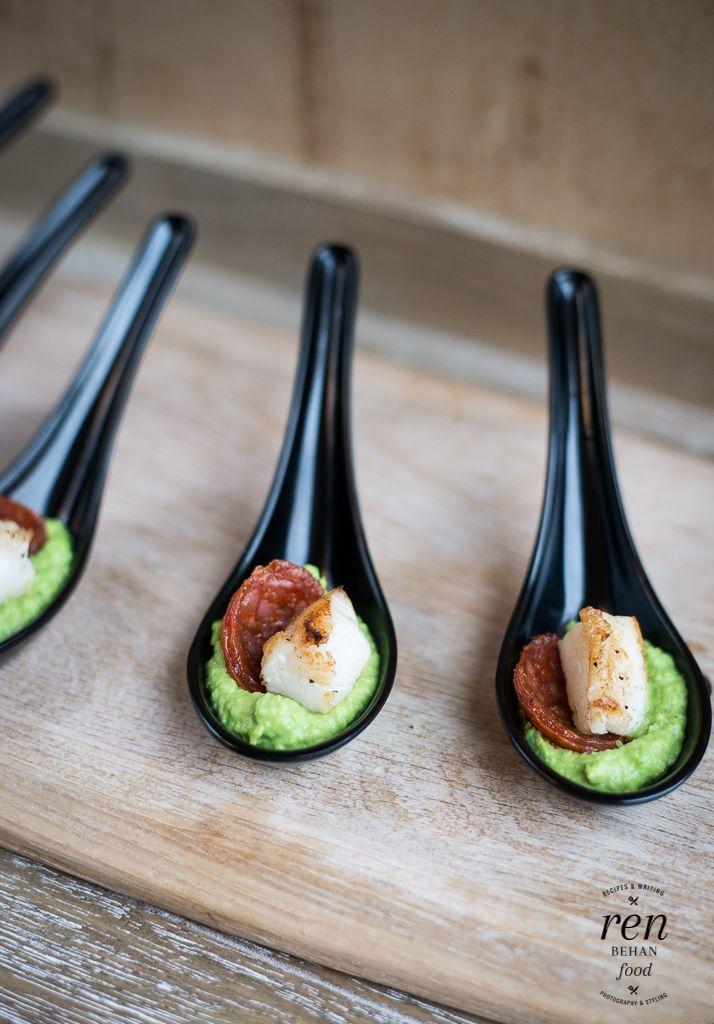 Cod, Chorizo and Pea Puree Bites - Lurpak Cook's Range - Ren Behan Food | renbehan.com