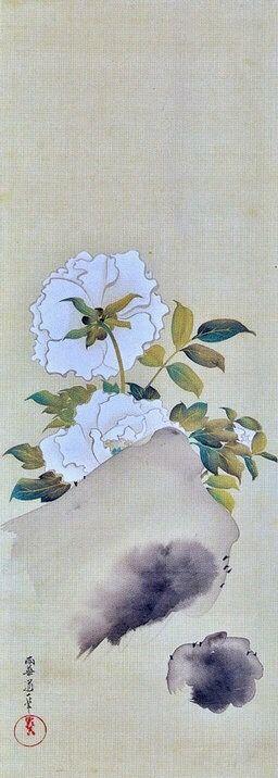 Sakai Hōitsu. White Peony. Japanese hanging scroll. Edo period.