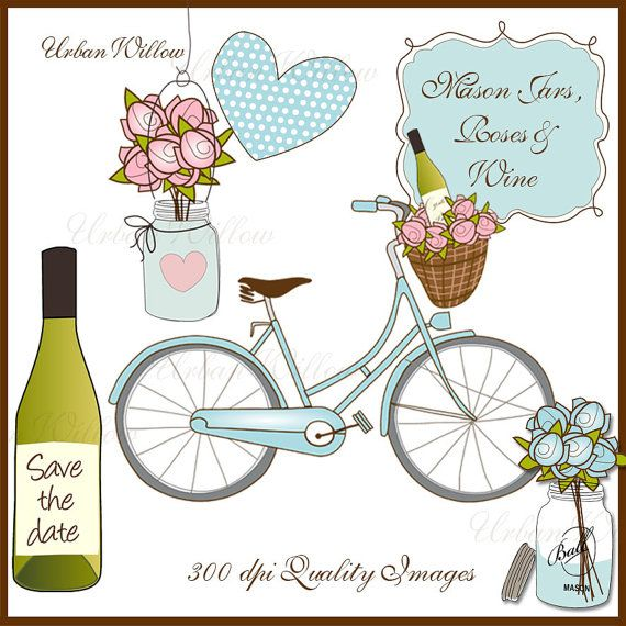 Mason Jars Roses & Wine  19 piece Clip art set in by urbanwillow, $5.95