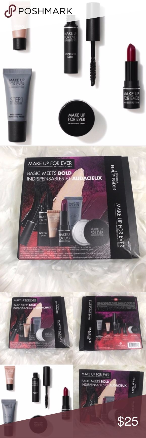 """Make Up For Ever Sephora Point Basic Meets Bold + 500 Sephora points = $500 spent in order to purchase this + Brand new 500 point reward from Sephora / Make Up For Ever called """"Basic Meets Bold"""" + This reward includes: - 0.16 oz/ 5 mL Make Up For Ever Step 1 Skin Equalizer Primer - 0.035 oz/ 1 g Make Up For Ever Ultra HD Loose Powder - 0.04 oz/ 1.3 mL Make Up For Ever Aqua XL Colour Paint in I-50 - 0.08 oz/ 2.5 mL Make Up For Ever Excessive Lash Arresting Volume Mascara - 0.04 oz/ 1.4 g Make…"""