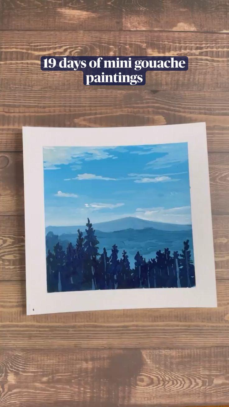 Watercolor Landscape, Landscape Art, Landscape Paintings, Watercolor Paintings, Small Canvas Paintings, Canvas Art, Gouche Painting, A Level Art Sketchbook, 19 Days