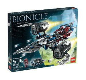 LEGO Bionicle Jetrax T6 (8942) by LEGO. $97.95. Release the giant jet turbines with a simple push of a button for greater speed. To fold turbines back in the start position, place it on the table. Contains 422 pieces. Use the three powerful blasters mounted on the front and each wing to launch an attack. Includes special edition Antroz figure. Amazon.com                Prepare the Jetrax T6 for battle and fight to determine the fate of the universe with Lego BIONICLE set 8942. ...