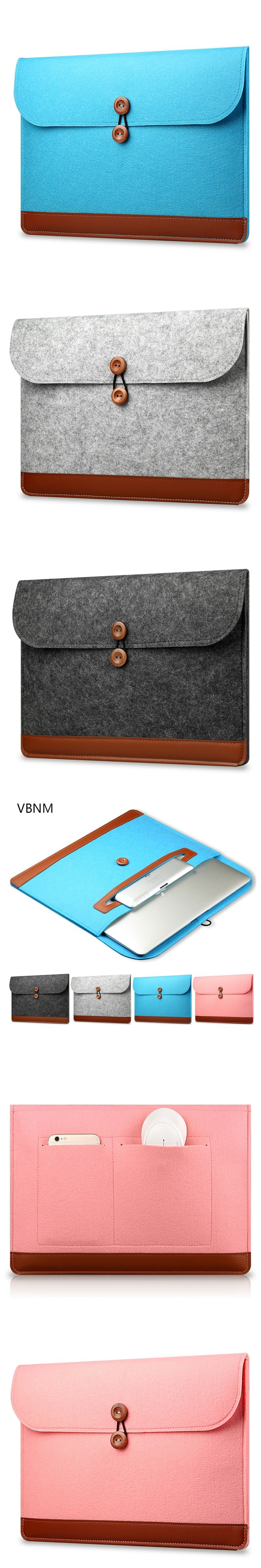 VBNM Wool Felt Laptop Sleeve Bag for Macbook Air Pro Retina 11.6 13.3 15.4 Inch Briefcase Liner Laptop Bag for Macbook Air 13