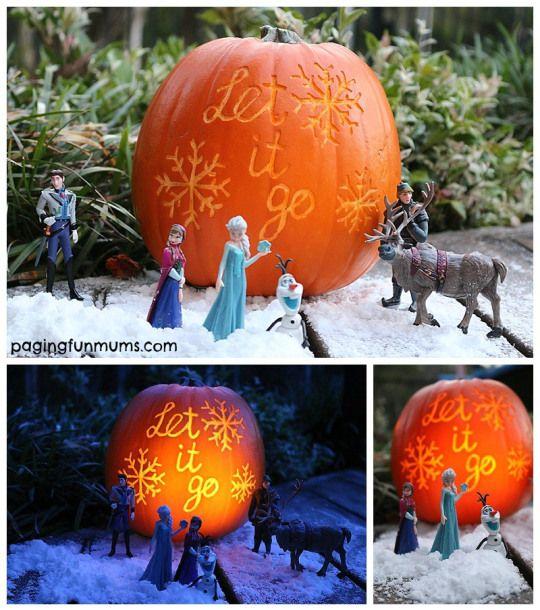 Frozen Halloween Pumpkin Carving Idea! Let it go, let it go...
