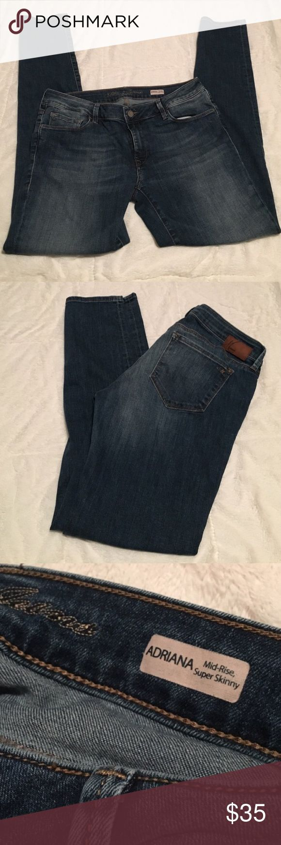 "Mavi jeans. Adriana mid rise-super skinny Great jeans! Size 31. Has stretch to them. 32"" inseam. Very slimming jeans. Great deal for the price. Mavi Jeans Skinny"