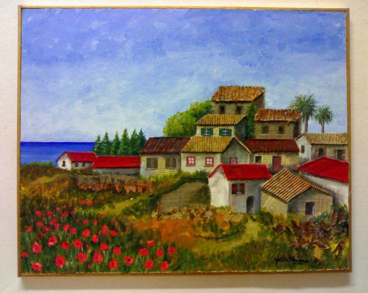 dalla collina tec. mista su tav. 40x50 2004 autore Natalia Albanese
