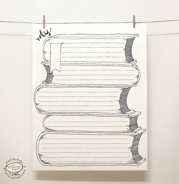 DOODLE Note Paper Sheets: Book Design | For book lovers | Creative Ruled Pages / Organizers | Reusable Printable Letter Size pdf Templates