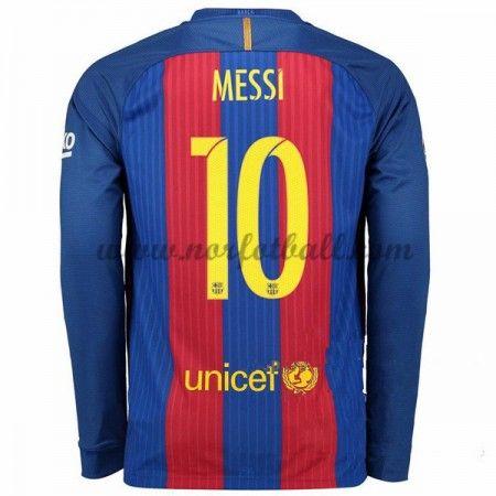 Billige Fotballdrakter Barcelona 2016-17 Messi 10 Hjemme Draktsett Langermet