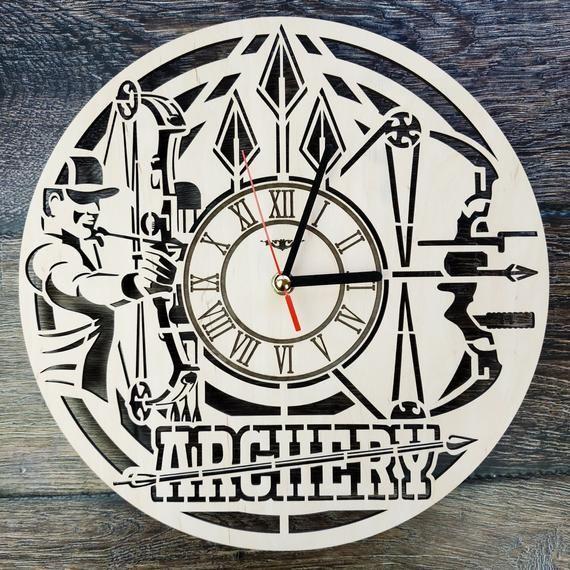 Archery Arrow Wood Wall Clock Gift For Archer Men Woman Friend