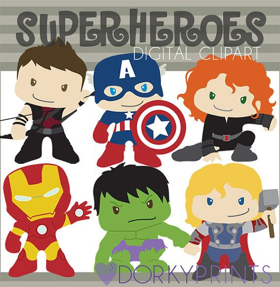 Super Hero Digital Clip Art Set -Personal and Commercial- Hawkeye, Captain America, Black Widow, Iron Man, Hulk, Thor