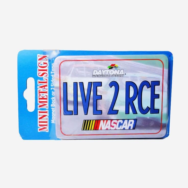 Nascar Live 2 Race Metal Refrigerator Magnet Sign - RM823 - Nascar Live to Race Daytona Speedway mini metal locker, office, car refrigerator magnet or two sided tape sign. Great gift - FOR SALE at www.ClaudiasBargains.com