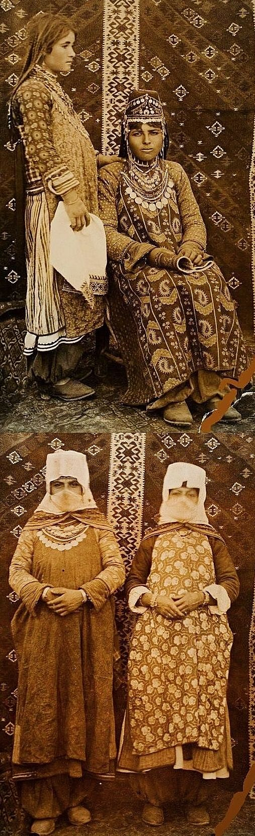 Armenian women from the village of Alur (currently Alaköy), in the Edremit district (in the western part of the Van province).   Late-Ottoman era, early 20th century.  Top: a newly wed bride and a relative.  Bottom: two women in outdoors village dress.