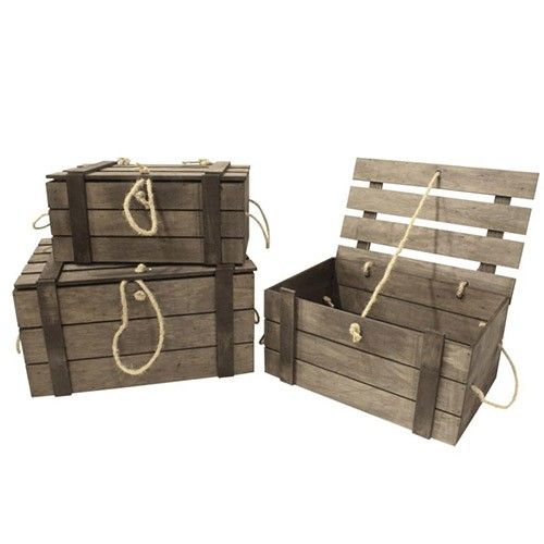 Set of 3 - Nested Rustic Wooden Boxes   Milan Direct $60
