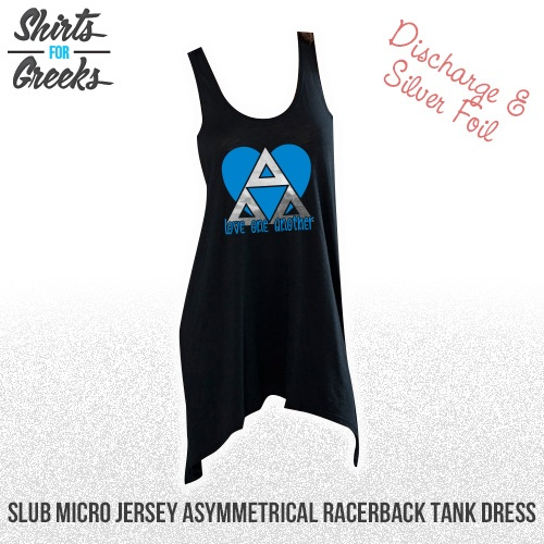 Shirts For Greeks - Tri Delta Discharge & Foil Slub Micro Jersey Asymmetrical Racerback Tank Dress