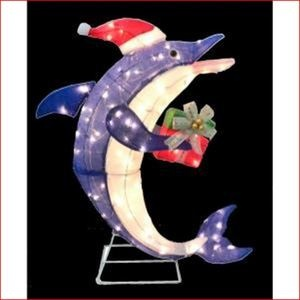 Tinsel Lighted Dolphin n Santa Hat w Present Tropical ...
