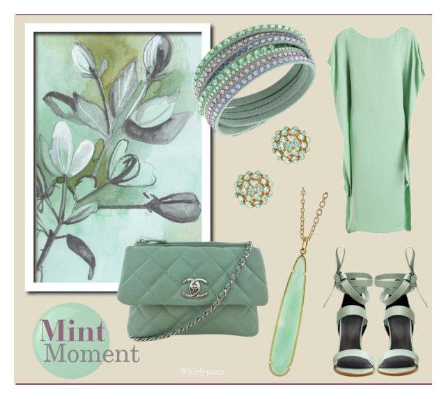 Mint Moment! by whirlypath on Polyvore featuring TIBI, Chanel, Swarovski, Irene Neuwirth, Natasha Accessories, Essie and The Row