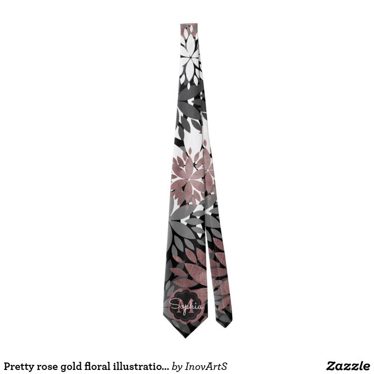 Pretty rose gold floral illustration pattern tie