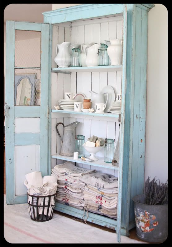 Something like this across dining room wall. Just deep enough for appliance storage below, platters & serving dishes up top.