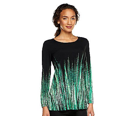 Susan Graver Liquid Knit Long Sleeve Border Print Tunic