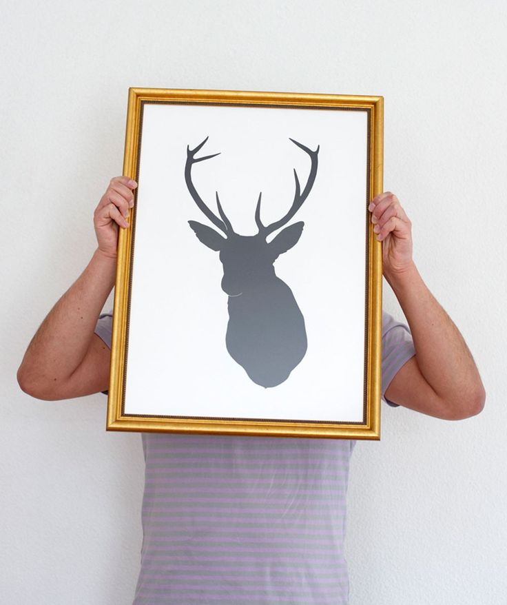 This quirky hand pulled screen print is our two-dimensional take on traditional stag's heads. Printed using black ink on heavy-weight 270gsm white paper. | huntingforgeorge.com