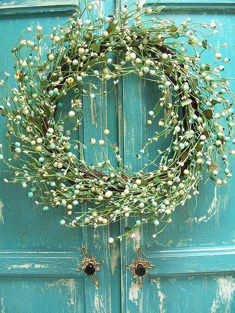 Aqua Door and Wreath