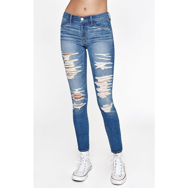 PacSun Perfect Fit Jeggings (170 BRL) ❤ liked on Polyvore featuring pants, leggings, white denim leggings, white ripped jeggings, destroyed jeggings, white jeggings and distressed jeggings