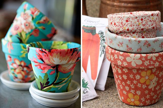 Fabric-Covered Pots: Spray adhesive and fabric instantly turn boring plastic pots into gorgeous planters.