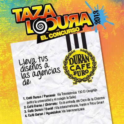 ¿Hiciste tu diseño a mano y no sabes dónde entregarlo?. ¡Éstas son las agencias!. Puedes ser uno de los ganadores que harán parte de la próxima colección ¡Taza Locura Café Durán!.