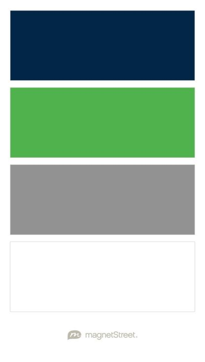Navy, Custom Green, Classic Gray, and White Wedding Color Palette - custom color palette created at MagnetStreet.com
