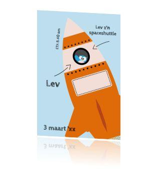 Enkele kaart spaceshuttle geboortekaart met uil voor een stoere jongen