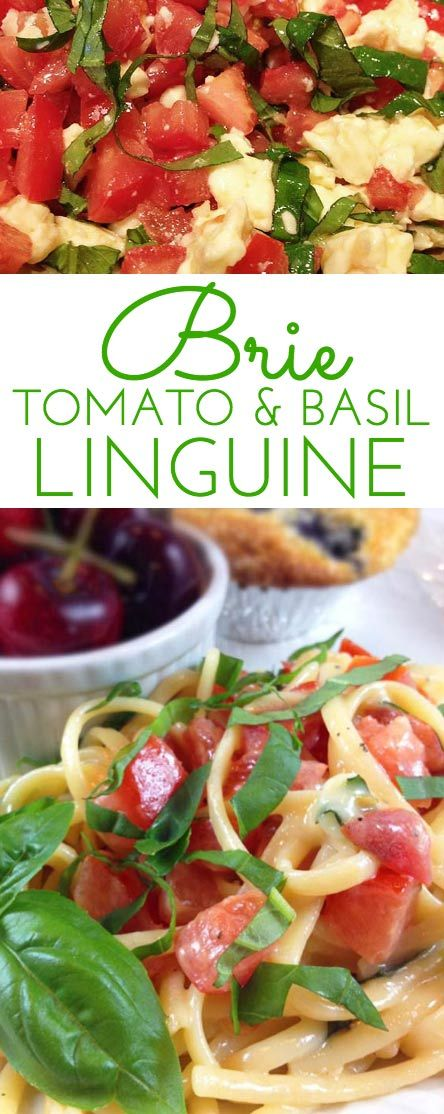 Marinated Brie Tomato & Basil Linguine. So easy. Hot linguine melts the brie, creating an unforgettably light and flavorful sauce. This is summer in a dish!