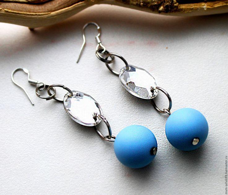 Купить Серьги нежно голубые - голубой, небесный, стекло, стеклянная бусина, стеклянный страз, серебро