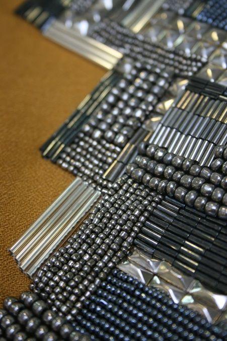 Beaded tile patterns - textiles surface design with metallic bead embellishing on fabric // Abigail Gardiner