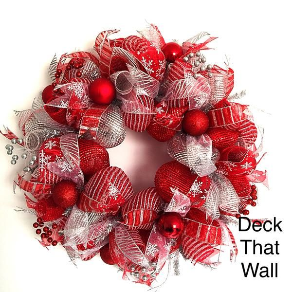 Red and Silver Christmas Mesh Wreath – Deck That Wall