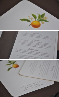 This particular save the date combined a wonderful botanical print of an orange blossom with metallic gold edging, lush cotton paper, letterpress printing and digital printing. The end result is a beautifully textured and organic piece fitting for a Southern Cali wedding.