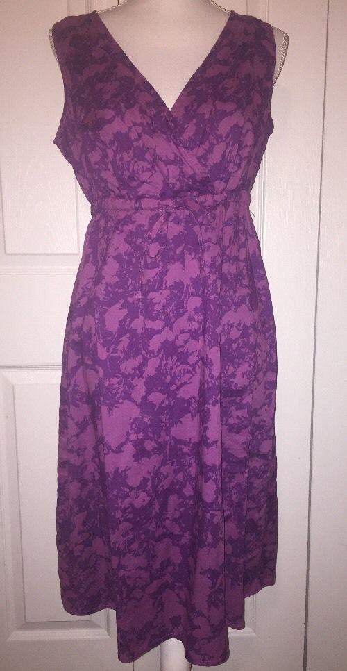 NWT Eddie Bauer woman's size 10 small iris surplice dress drawstring Purple    eBay