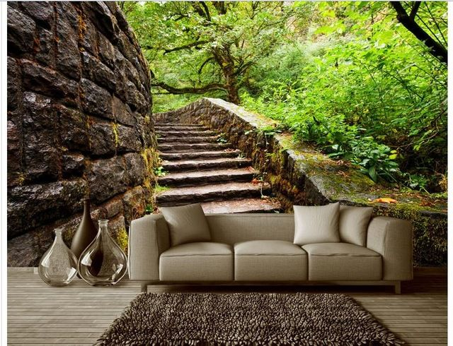 Personalizado 3d foto wallpaper murales de pared 3d wallpaper pared del ajuste de espacio en la Mesa al aire libre jardín de árboles 3d wallpaper salón