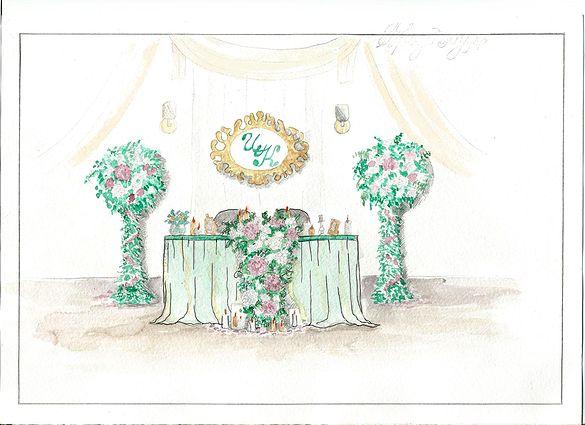 """Эскиз к свадьбе Организация свадеб в Краснодаре  Изумрудно-золотая свадьба  Emerald gold wedding Флористика и декор Barbaris Flowers Организация свадебное агентство """"Счастливые истории"""" #happystorieswed"""